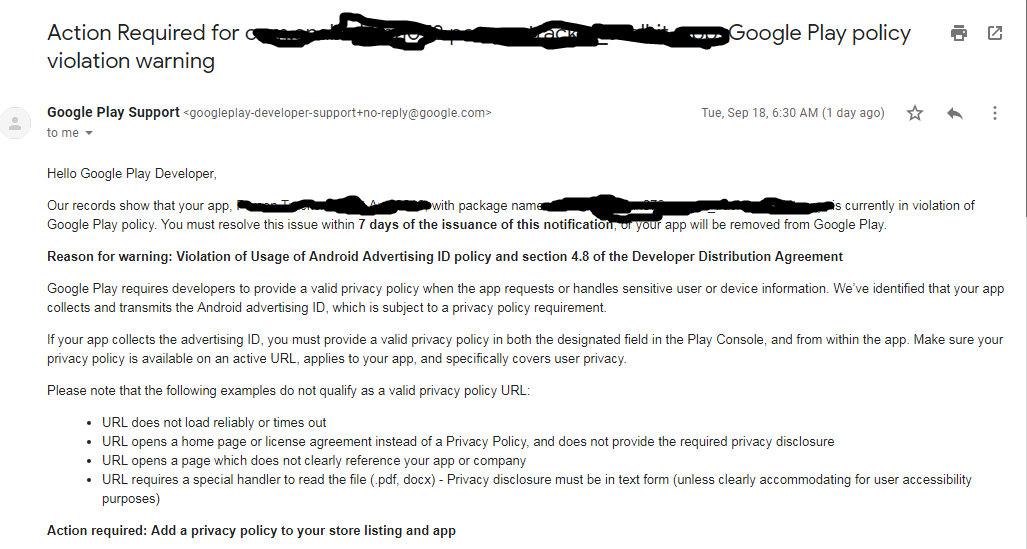 Violation Of Usage Of Android Advertising Id Policy